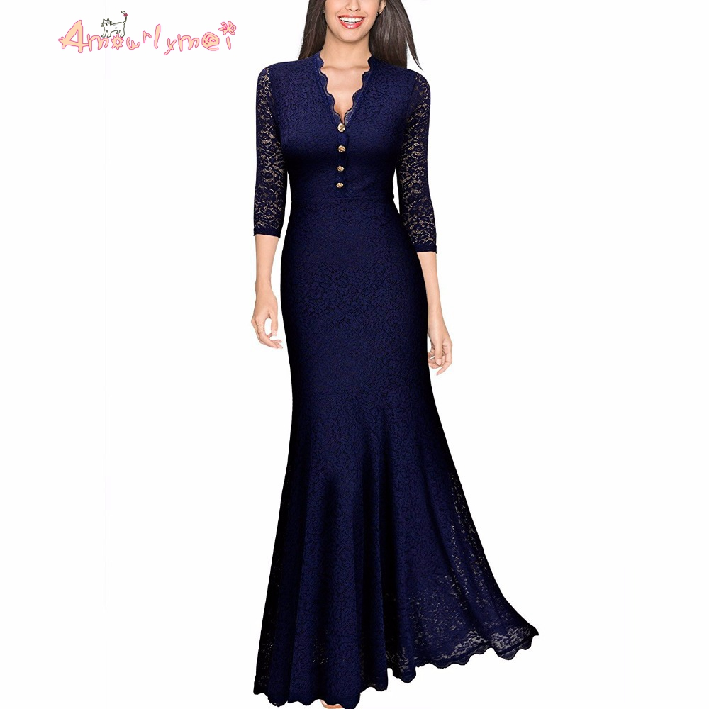 elegant maxi dresses for weddings amourlymei women s vintage floral lace v neck wedding 3853