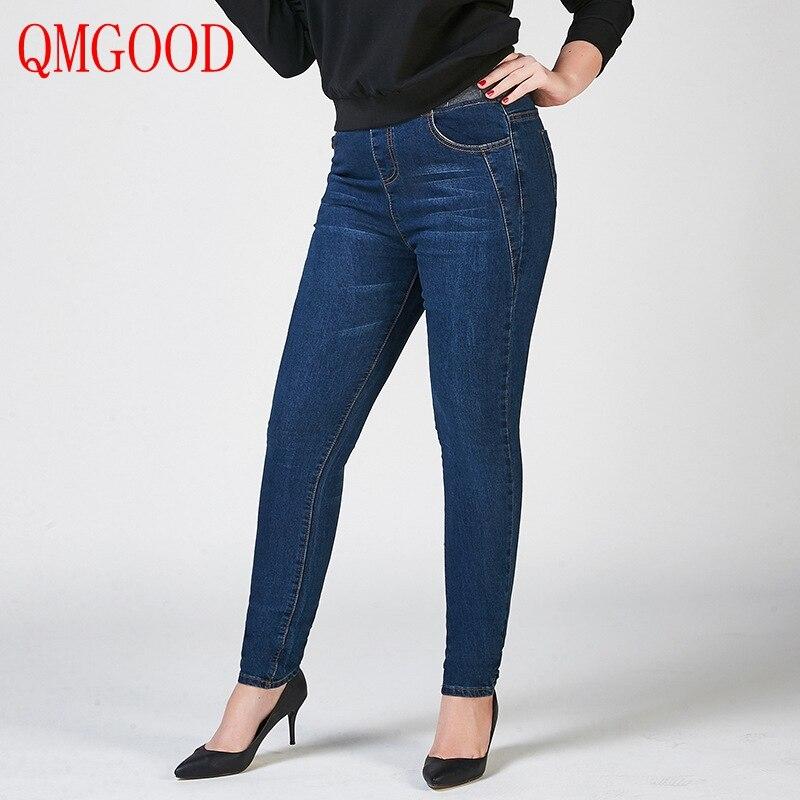 QMGOOD Fat MM Casual Large Size Classic Jeans Pants Stretch Waist Pencil Plus Size Skinny Jeans Women Elasticity Denim Pants 40 alfani new deep black stretch waist women s size large l casual pants $89