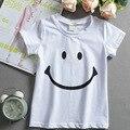 016 Nuevo Bebé Ropa de Las Muchachas de la camiseta de manga corta de Cara de La Sonrisa los niños camisetas de Algodón de los Bebés Camisetas para niños Niñas Niños Tops