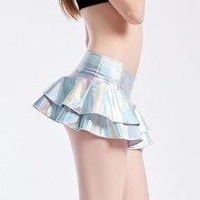Женские летние сексуальные Клубные мини-юбки серебристого и золотого цвета, короткая юбка из искусственной кожи, плиссированные трапециевидные юбки с низкой талией