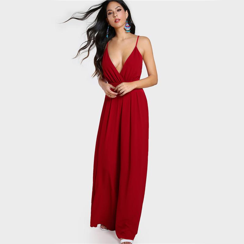 Green Red Elegant V Neck Sleeveless Jumpsuit