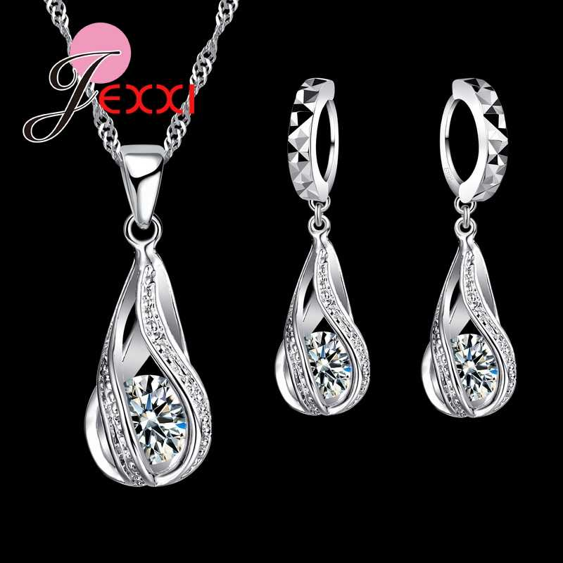 925 Sterling Silver Classic Drop Shape White Crystal Jewelry Sets Water Wave Necklace Pendant Hoop Earrings