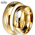 Men & Women Wedding Band 6MM Titanium Steel Shiny Gold Plated Classic Cubic Zirconia Ring for Girl