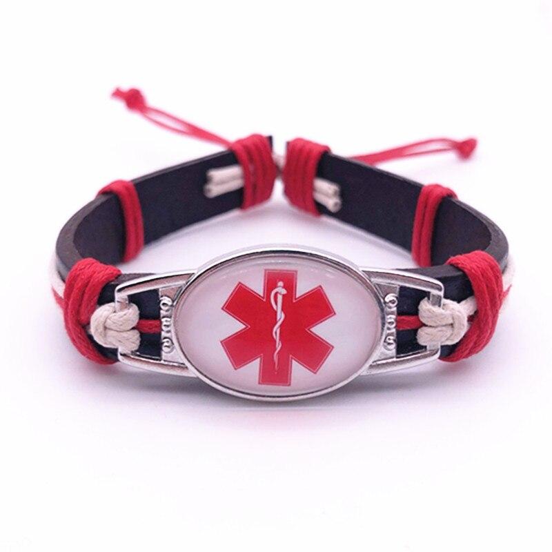 Epilepsy Emergency Medical Genuine Leather Bracelets & Bangles 25*18mm Glass Cabochon Men Women Unisex Jewelry Gifts
