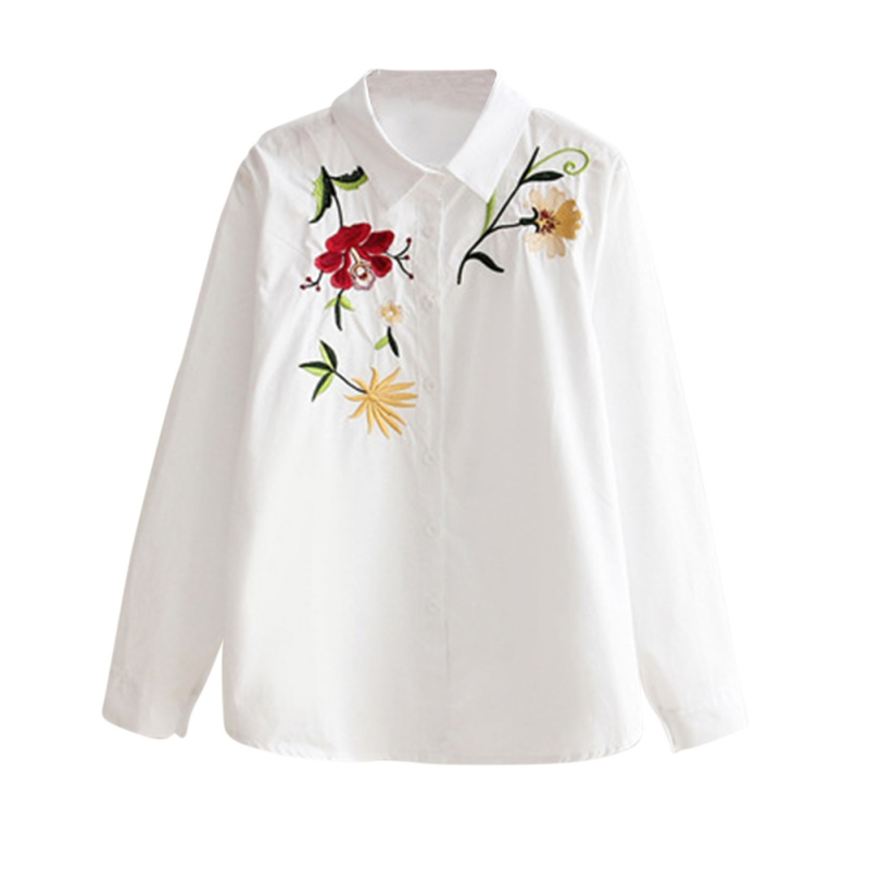 Floral Embroidery Shirt font b Women b font Autumn Long Sleeve font b Classic b font