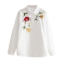 Floral Embroidery Shirt Women Autumn Long Sleeve Classic White Blouse Ladies Solid Casual Tops Blusas