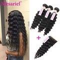 Brazilian Deep Wave 3 Bundles With Closure 7A Unprocessed Virgin Hair Deep Wave With Lace Closure Brazilian Human Hair Weave
