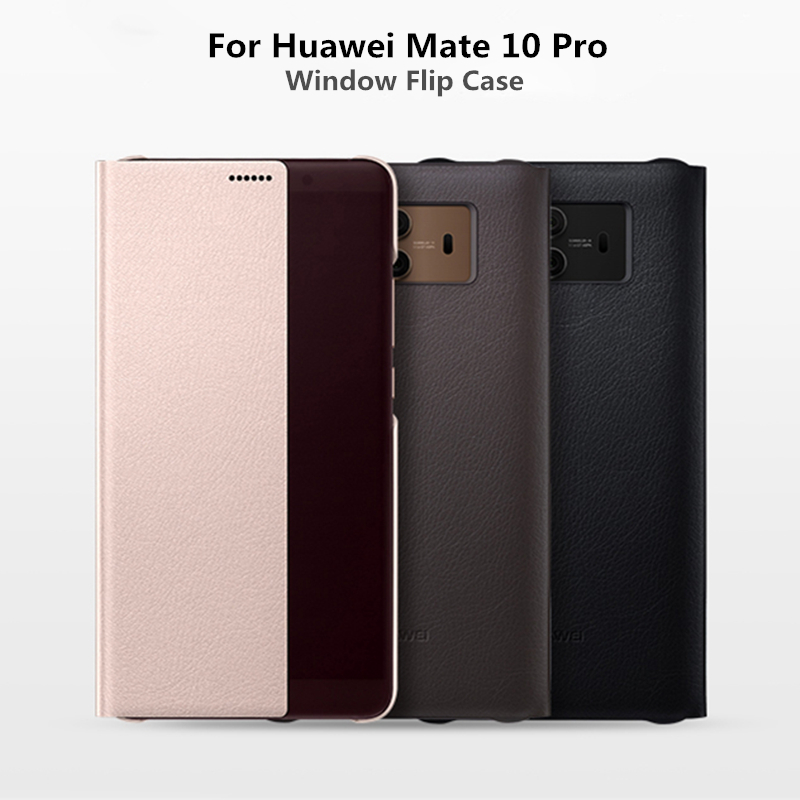 Smart PU Leather Flip Cover For Huawei Mate 10 Pro 9 Case Window View