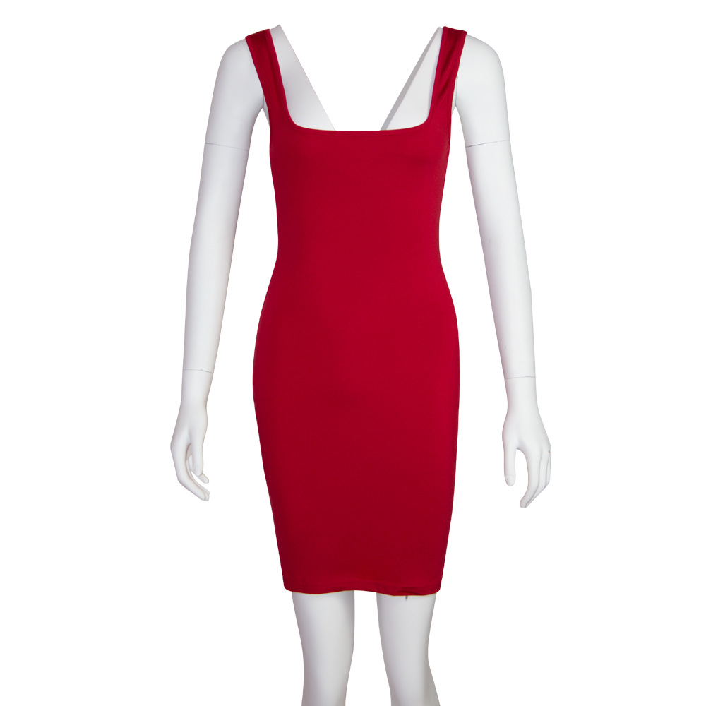 Summer Sexy Slim Women Dress Slash neck Red Color Sleeveless Dress Backless Sheath Bodycon Package Hip Black Dresses Female in Dresses from Women 39 s Clothing