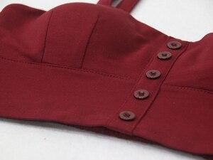 Image 5 - Gkfnmt クロップトップ女性キャミソールトップ女性キャミソール 2020 夏セクシーなノースリーブスリム低胸ボタン roupas femininas