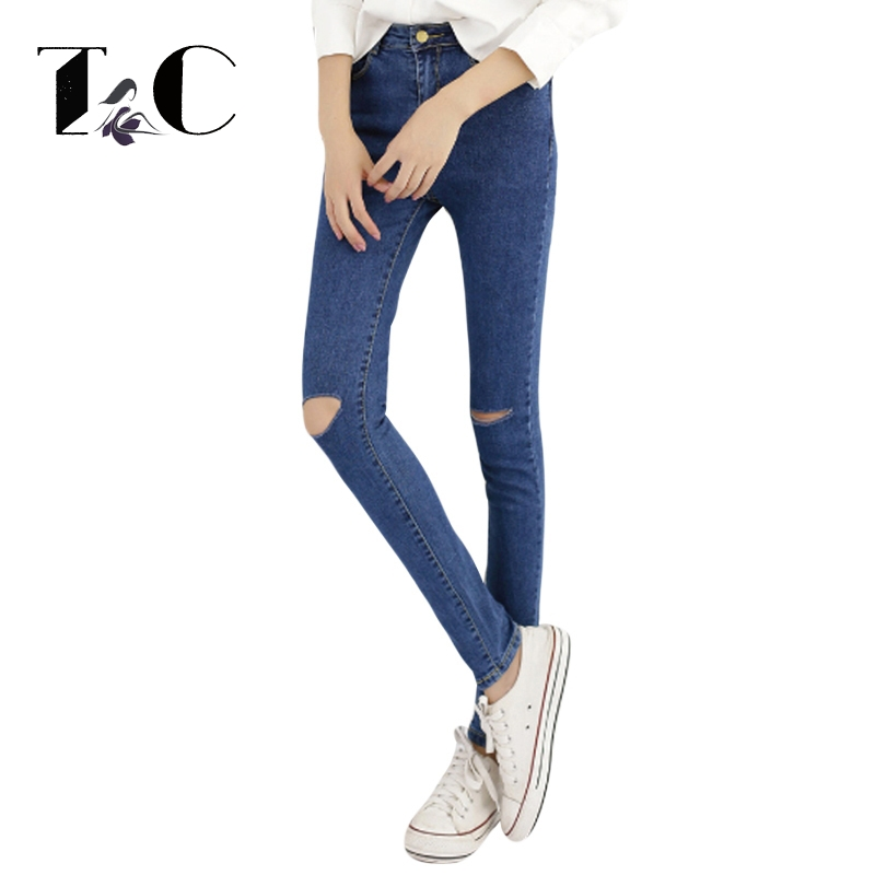 TC 2017 Women Skinny Jeans New Fall Fashion Pencil Pants Denim Strech Blue Black Hole Ripped High Waist Plus Size Jeans PT0236  2017 women blue skinny jeans new fall fashion pencil pants denim strech hole ripped high waist plus size jeans american apparel