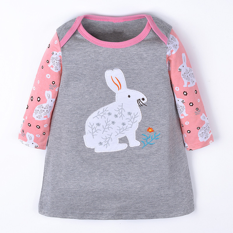 One Pcs Retail Baby Dresses For Girls Long Sleeve Children Cotton Clothes Comfortable Stitching Girl Dress Cartoon Animals Dress