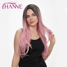HANNE Long Natural Wave Synthetic Wigs Black to pink Omber Wig For White or Black Women's Party Or Cosplay