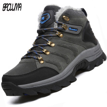 Дизайнерские мужские зимние ботинки; очень теплые мужские Ботильоны; качественные замшевые зимние ботинки с мехом и плюшем; зимняя уличная походная обувь; большие размеры