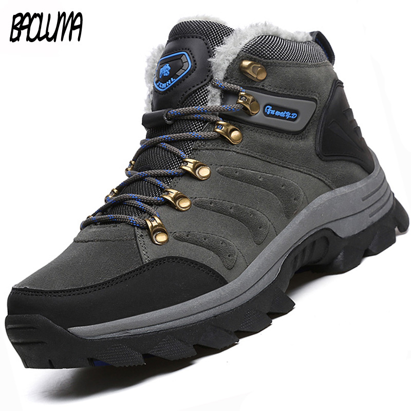Designer Men Winter Boots Super Warm Men Ankle Boots Quality Suede Snow Boots Fur Plush Winter Outdoor Hiking Shoes Plus Size