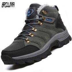 Designer de botas de inverno dos homens super quentes botas de tornozelo qualidade camurça botas de neve de pelúcia de inverno ao ar livre caminhadas sapatos mais tamanho