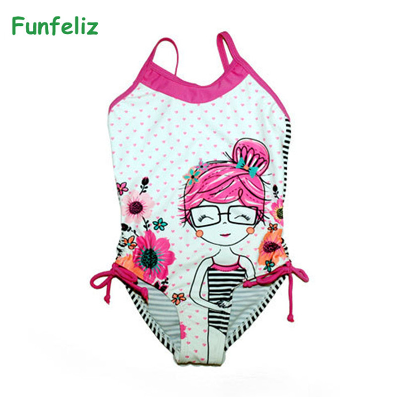цены Funfeliz Girls Swimsuit Cute Character one piece swimwear for girl Kids swim suit two pieces bathing suit for Children 2-6 years