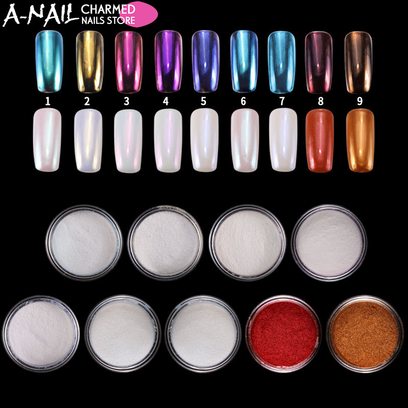 9 colors/set Mirror Chrome Nail Glitter Powder dust UV Gel Nail polish Shell Nail Pigments Nail Art Manicure Decorations tools free shipping 500 pairs lot wholesale silicone gel cushion insoles anti slip shoe forefoot pads retail packing