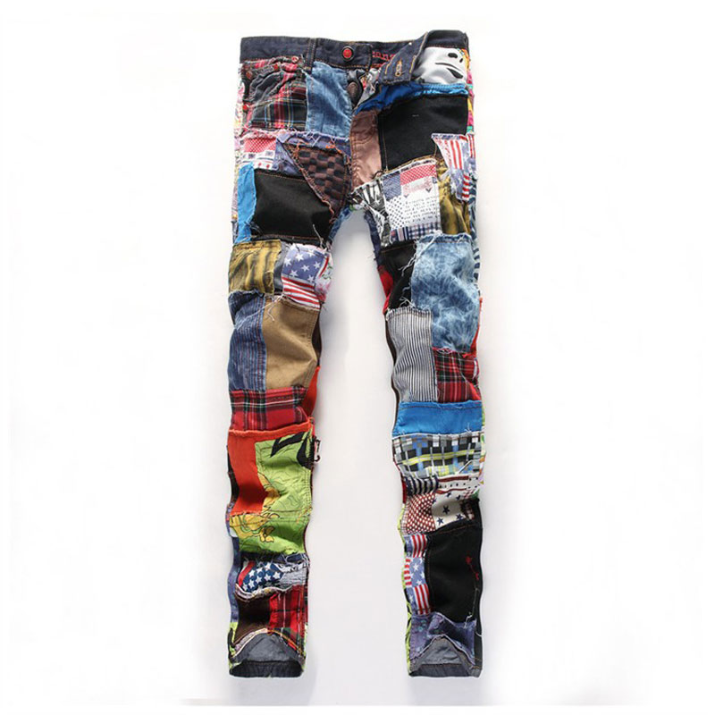 ФОТО Fashion Men's Hip Hop Colorful Patchwork Jeans New Dance Jeans Slim Fit Designer Night Club Jeans Button Fly Colored Patch 29-38