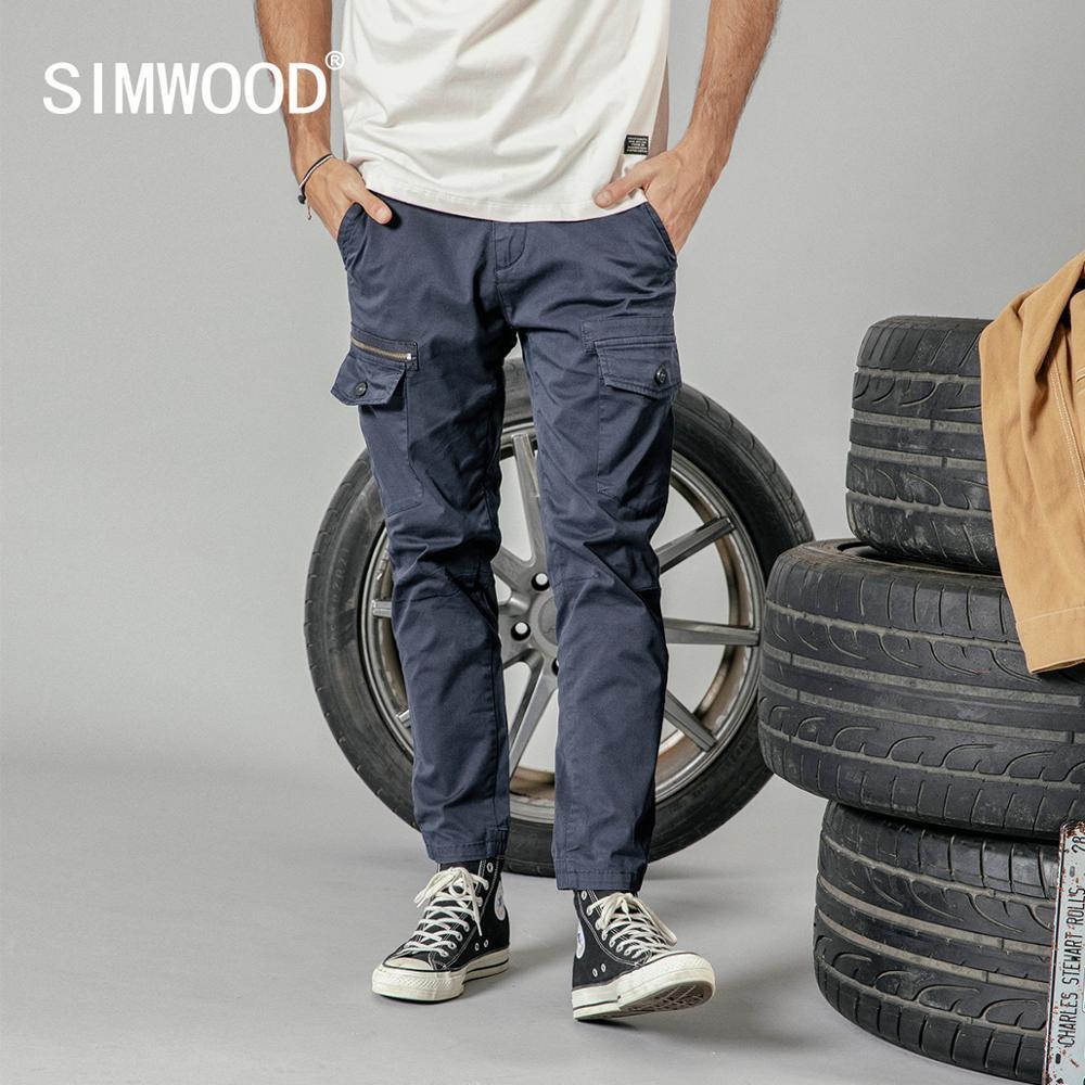 SIMWOOD 2019 verão novas calças da carga dos homens do tornozelo-comprimento bolsos slim fit calças de alta qualidade roupas de marca 190190