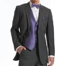 Charcoal Grey Wedding Groom Tuxedos Classic Fit 3 Piece Notched Lapel Business Men Suits Set Jacket Purple Vest Pants