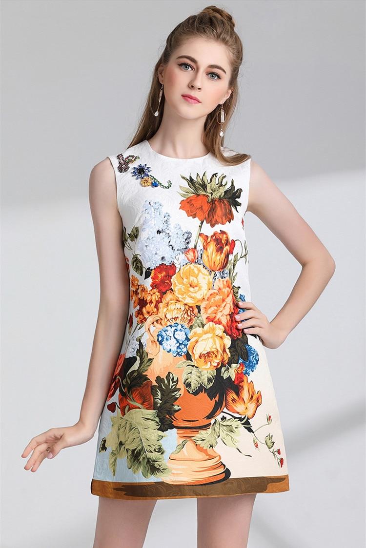 2018 Imprimé Perlé Été Color Picture Casual Floral Sans Parti Designer Piste Femmes Robe Printemps Une Ligne Bouton Diamant Jacquard Manches xv5wrqpv
