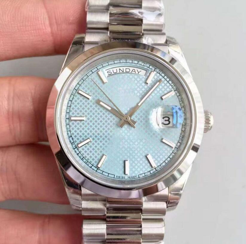 AAA+ Luxury brand watch DAY DATE automatic mechanical 41MM men watches sky blue daydate Stainless steel strap watch(China)