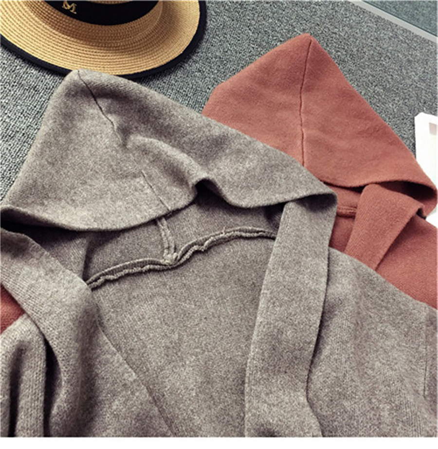Autumn Winter Women Long Cardigans Hooded Sweaters Casual Knitted Outwear Puff Sleeves for Fashion Girls Female Warm Clothing (18)