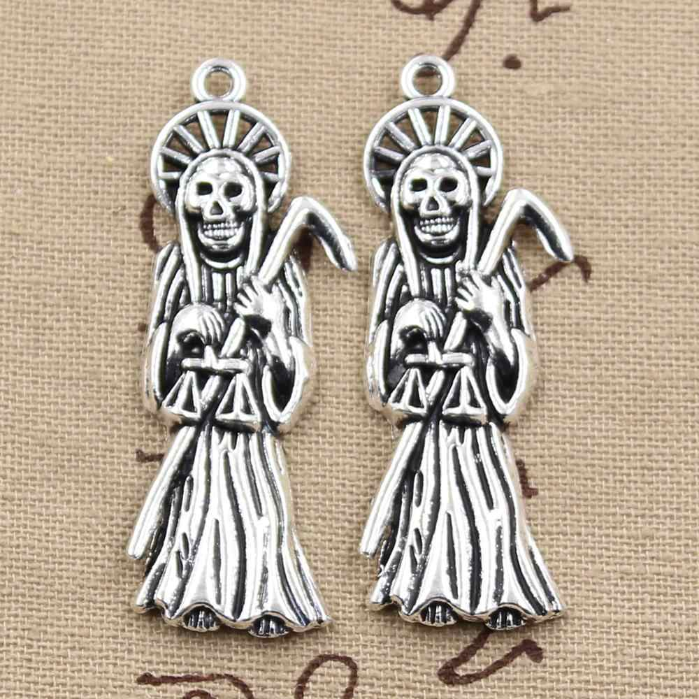 4pcs  Charms grim reaper death 51x19mm Antique Making pendant fit,Vintage Tibetan Silver,DIY Handmade Jewelry