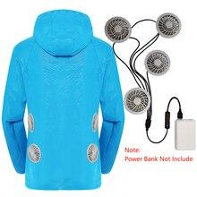 קיץ קירור מאוורר בגדי 3 מהירות USB מיזוג אוויר חליפה עם 4 אוהדי UV הגנה ללבוש להתיז הוכחה מיזוג אוויר מעיל