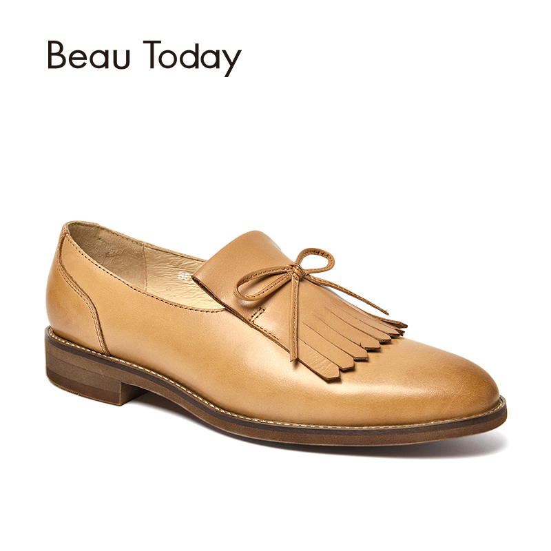 BeauToday Women Loafers Decorated with Tassels Butterfly-knot Genuine Leather Soft Calfskin Shoes Brand Flats Handmade 27090 beautoday loafers women top quality brand flats genuine leather metal decorated square toe calfskin shoes mix colors 15701