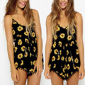 2016 Backless Sexy Playsuit Straps Sunflower Print Overalls Casual Vintage Short Rompers Womens Jumpsuit Plus Size S-XXXL