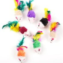 Fake cat toy colorful feather cat kitten interactive cat toy mouse plush toy sound toy pet toys 10pcs все цены