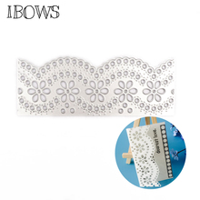 IBOWS Romantic Metal Cutting Dies Cut Lace Border Edge Scrapbooking Paper Craft Handmade Card Punch Art Cutter Hand-on Cards large border punch flower knot embossing machines perfect for handmade cards craft height about 4cm 1 57inch