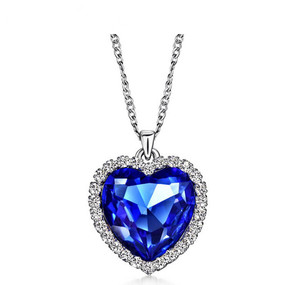 Anenjery Classic Zircon Glass Ocean Heart Dark Blue Crystal Necklaces & Pendants Statement Chain Necklace Woman Anime collares
