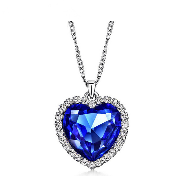 Anenjery Classic Zircon Glass Ocean Heart Dark Blue Crystal Necklaces & Pendants