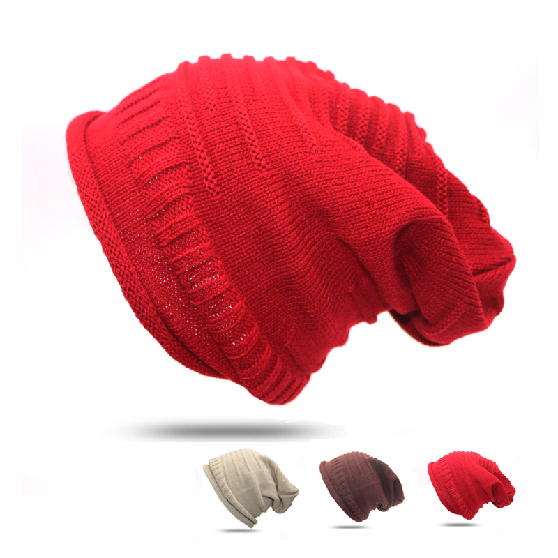 Skritts 2018 New Male Female Autumn Winter Caps Casual Knit Hat For Women Men   Beanie   for Ladies Knitted Caps   Skullies     Beanie   Hat