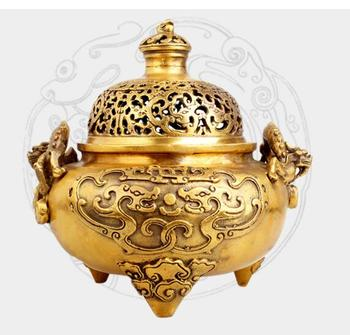 Collection fine workmanship brass double Dragon play pearl Incense burner