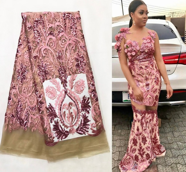 African Net Sequins Laces 5yard Latest Nigerian Laces 2018 Pink Colour  Sequin Fabric for Sewing Dress Tulle Lace Fabric-in Lace from Home   Garden  on ... 94754a7510ed