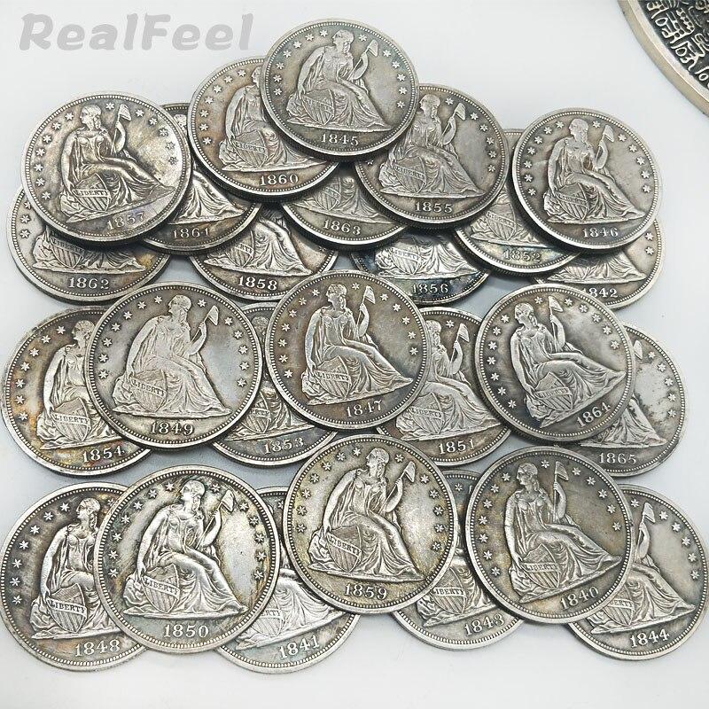 USA old coins set 26pcs 1840-1865 seated liberty coins  antique copper collectible eagle replica coins