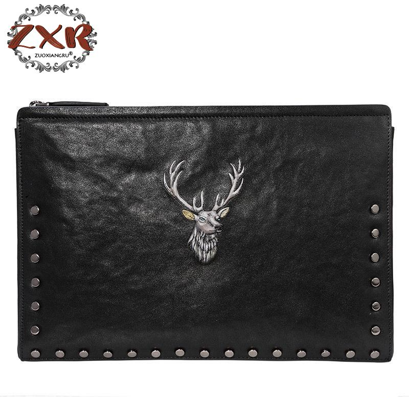 цена на 2018 New Deer Head Embossed Men's Clutch Bag Business Casual Men Bag Large-capacity Clip Bag Men's