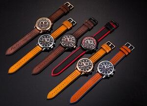 Image 5 - למעלה מותג CURREN גברים ספורט שעונים קוורץ זכר שעון הכרונוגרף אופנה תאריך עור שעוני יד Hodinky Montre Homme