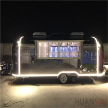 Huanmai 2018 New Type Stainless Steel Mobile Food Trucks Street Food Concession Trailers 6.8M