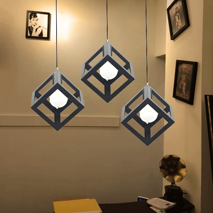 ФОТО American Country Industrial Vintage Creative Iron Square Cage Bedroom Pendant Light Restaurant Decoration Light Free Shipping