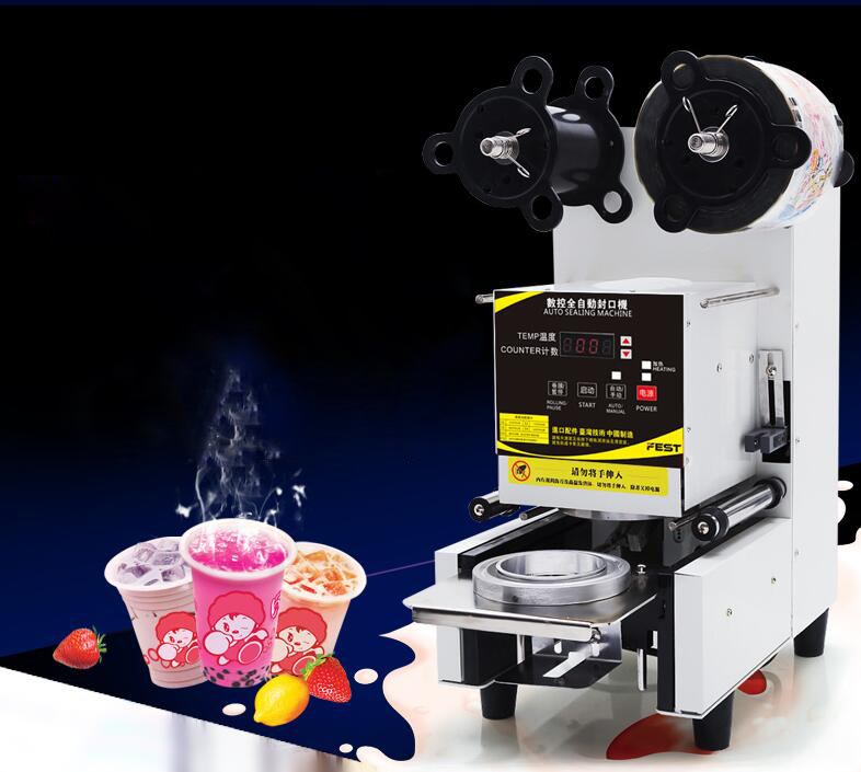 Automatic Plastic Cup Sealing Machine Tea/ Coffee Cup Sealer Commercial Plastic Cup Sealing Machine for Coffee Store FW-95 5pcs cute long handle plastic coffee milky tea juice stirrer