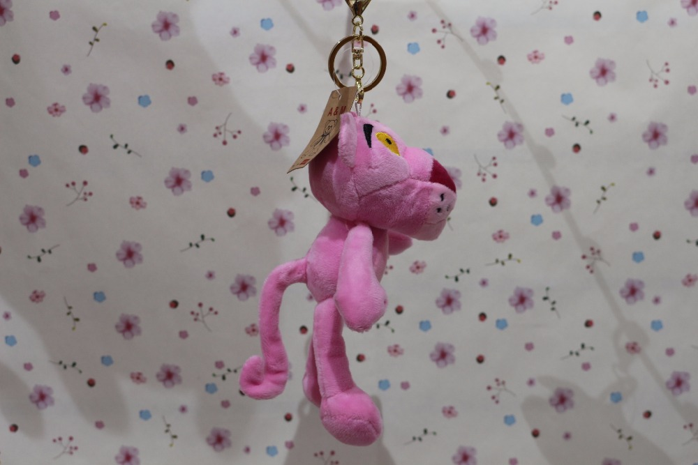 17cm Lovely Pink Panther Stuffed Plush Pendant Key Chain, Pink Panther Toy Bag Pendant Girl Christmas Gift