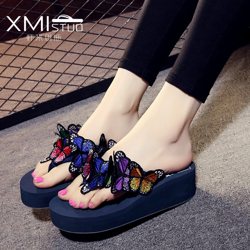 2018 Summer Slippers Women Platform Flip flops Women Slippers Casual Butterfly Slippers Summer Beach Shoes