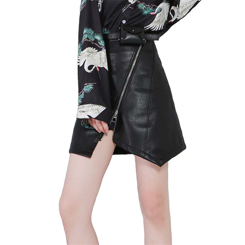 Cortas Pu Falda Sexy Línea Moda Faldas Mujeres Cool De Mini Cuero Doble Cremallera Costura Negro Una rOBrqwtZ