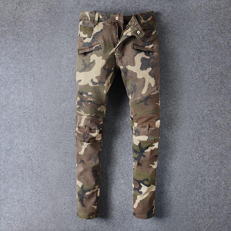 Famous Fashion Brand Camo jeans Camouflage Men Patchwork Straight Motocycle Pants Mens Locomotive Denim Biker Stretch Slim Jeans фото