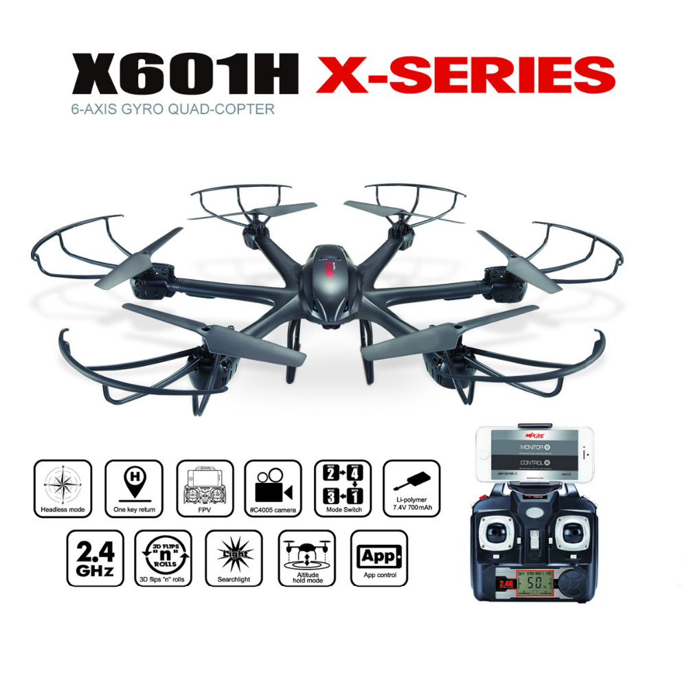 MJXR/C X601H 2.4G 6-Axis WIFI FPV RC Drone Quadcopter with HD Camera Helicopter Headless Mode Altitude Hold
